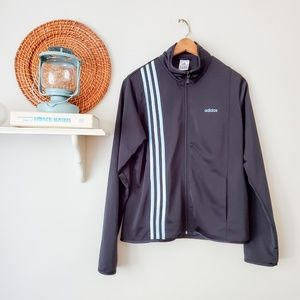 ADIDAS Black Zip-Up Track Jacket Blue Stripes